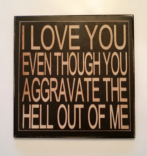 """7"""" x 7"""" Double layer square sign LOVE YOU"""