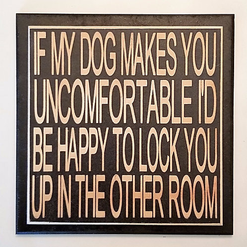 "7"" x 7"" Double layer square sign LOCK/DOG"