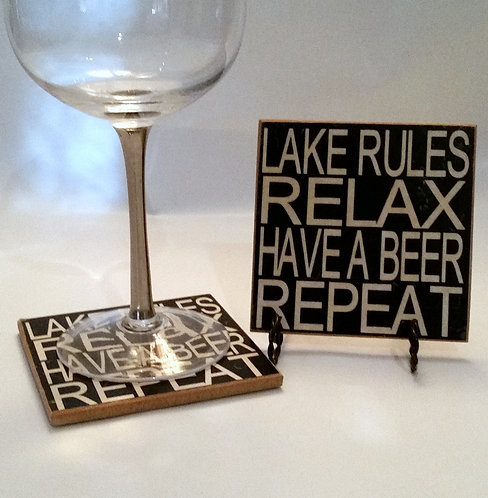 "4"" x 4"" Coaster Lake/Beer"