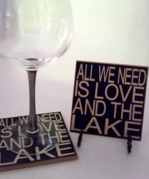 "4"" x 4"" Coaster LOVE/LAKE"