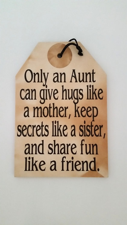 "5 1/2"" x 8"" Small Tag Sign AUNT"
