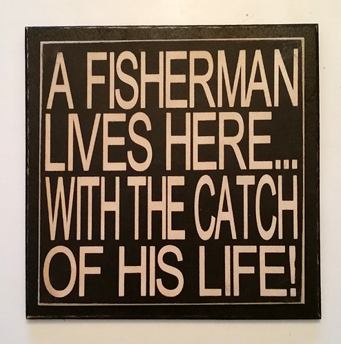 "7"" x 7"" Double layer square sign FISHERMAN"