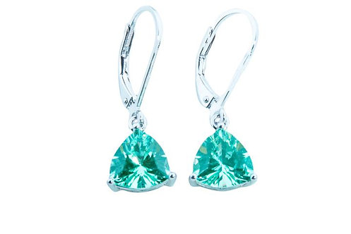 Sterling Silver Bermuda Ocean Mist 8mm trillion leverback earrings