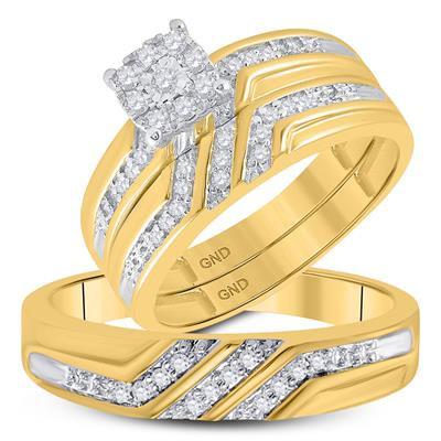 10K Gold .33ctw Diamond Trio Wedding Set of 3 rings