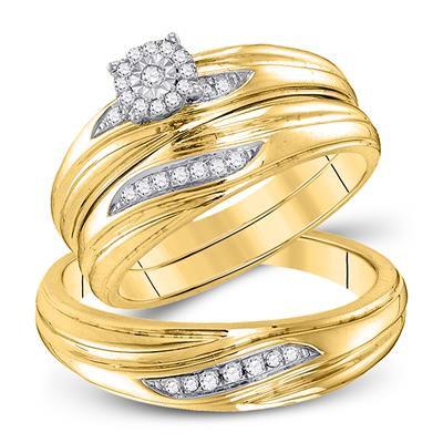10K Gold .20ctw Diamond Trio Wedding Set of 3 rings