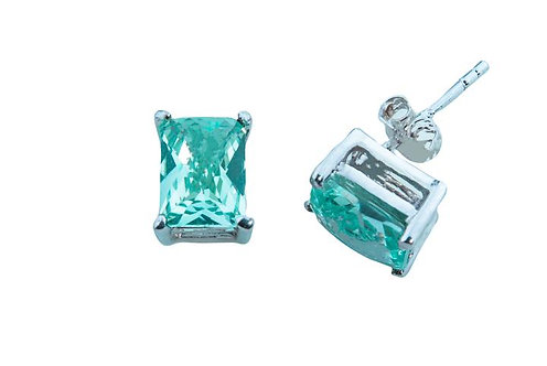 Sterling Silver Bermuda Ocean Mist 8x6mm emerald cut stud earrings