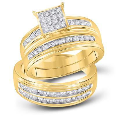 10K Gold .50ctw Diamond Trio Wedding set of 3 rings