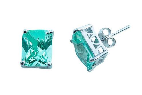 Sterling Silver Bermuda Ocean Mist 10x8mm emerald cut stud earrings