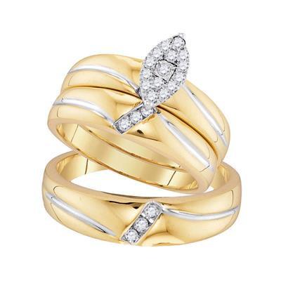 10K Gold .25ctw Diamond Trio Wedding set of 3 rings