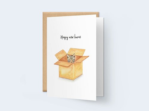 HD 'Happy new home' kitten in cardboard box card