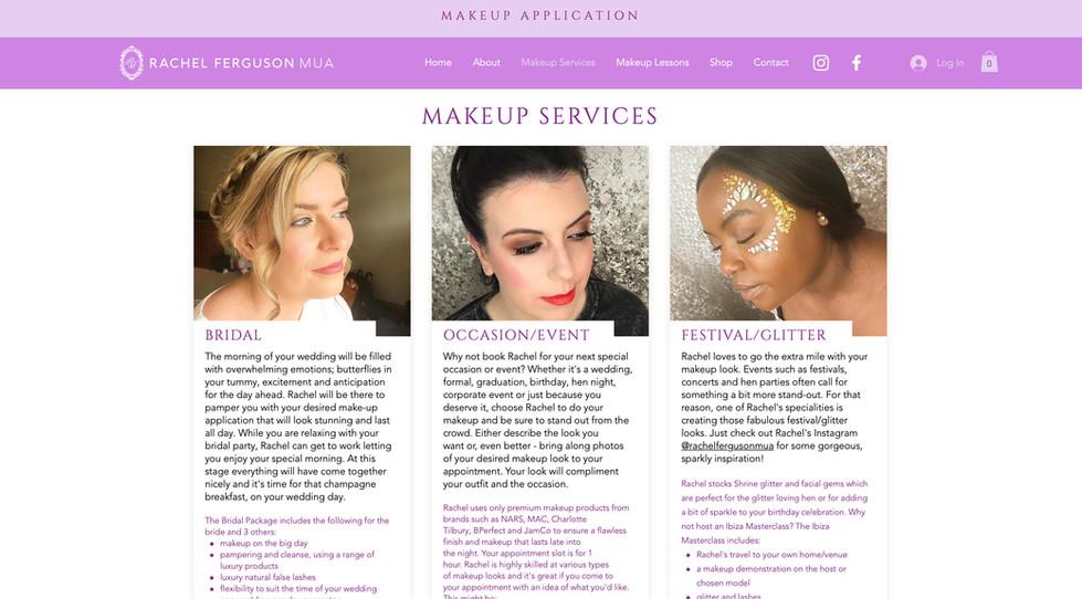 Rachel Ferguson MUA website - makeup services page
