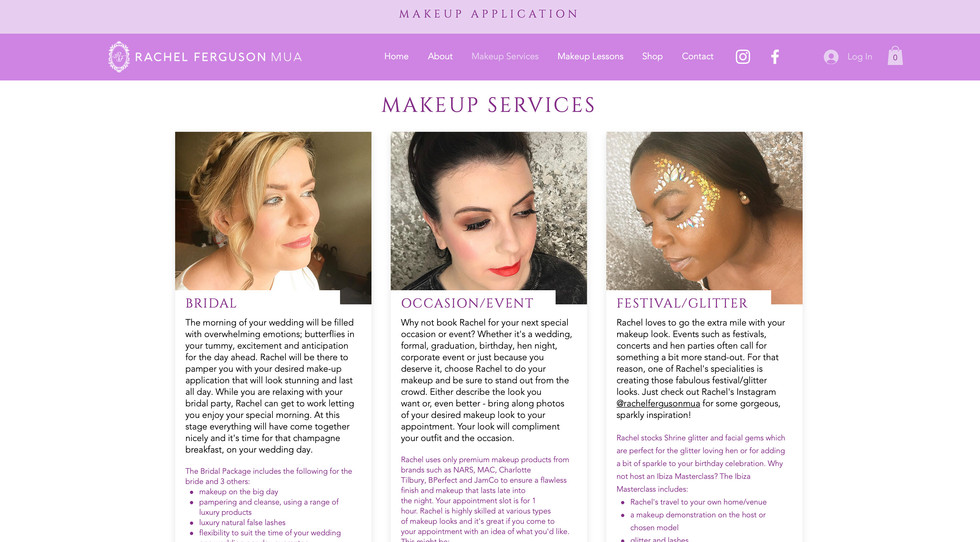 Rachel Ferguson MUA website - makeup services page