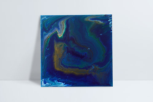 Abstract HD painting - gold, blues, white and green
