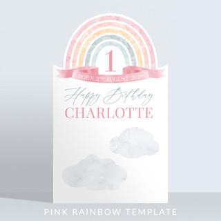 Holywood Design Birthday Party Panel - Pink Rainbow Template