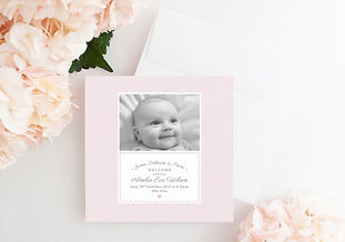 Pink baby thank you card design