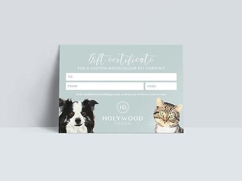 Gift Certificate for a Custom Watercolour Pet Portrait