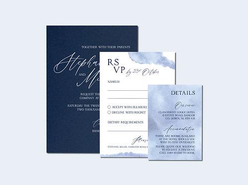 Navy Devotion Wedding Invitation Set