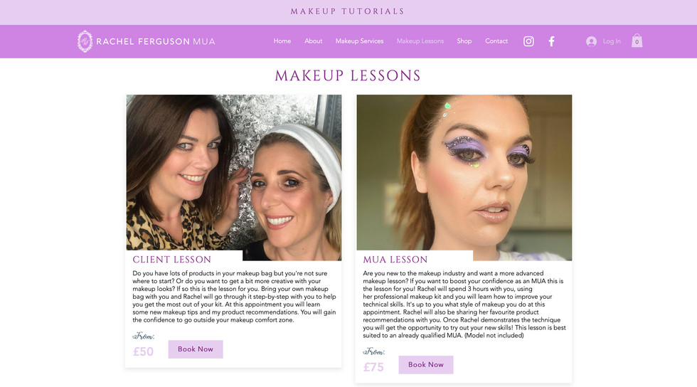Rachel Ferguson MUA website - makeup lessons page