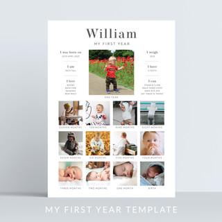 Holywood Design Milestone Birthday Board My First Year template