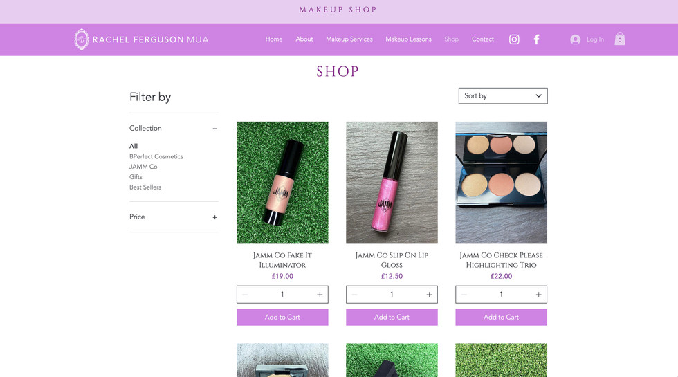 Rachel Ferguson MUA website - shop page