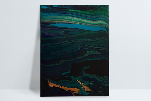 Abstract HD painting - black, metallic gold, greens and blues