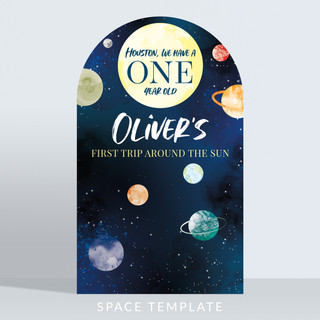Holywood Design Birthday Party Panel - Space Template