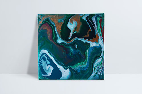 Abstract HD painting - gold, greens and blues