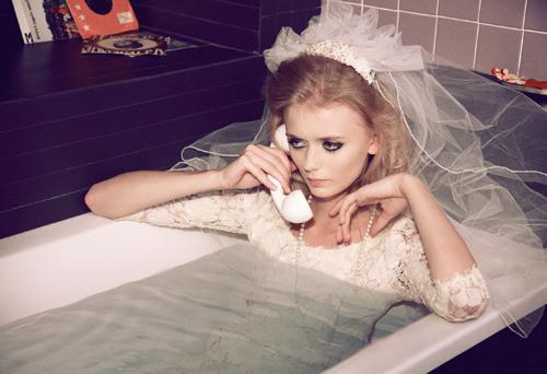 bride in the bath