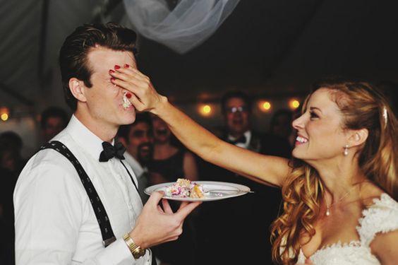 wedding cake on face