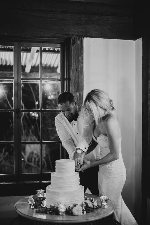 wedding cake and a couple