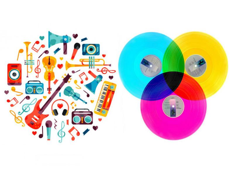 Rajzolt hangszerek színes lemezek, colorfull instruments and vinyls