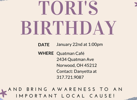 You're Invited to Celebrate Tori's Birthday!