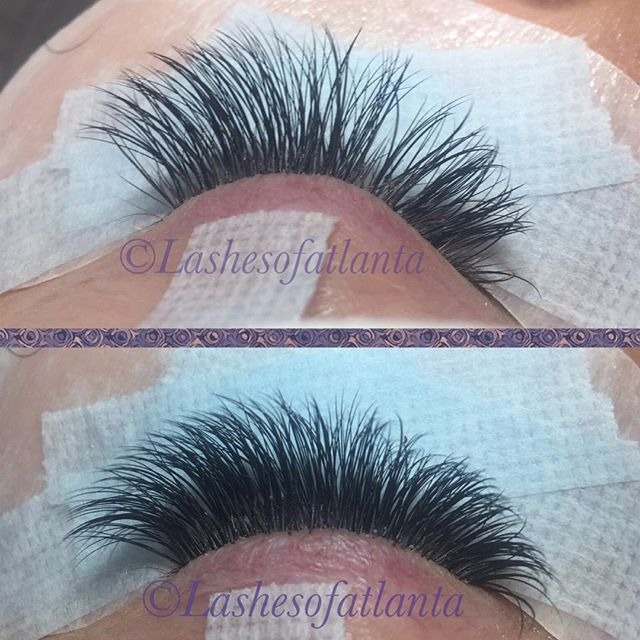 Top pic is before her 3 week fill, the retention is amazing! Keeping your lashes clean gives you gre