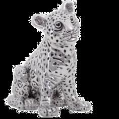 Curious Silver Leopard Cub Statue