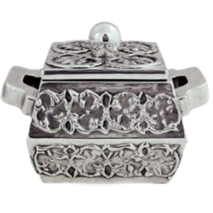 Silver Jewelry Box Square with Handles