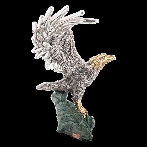 مجسمه عقاب طاس نقره ای