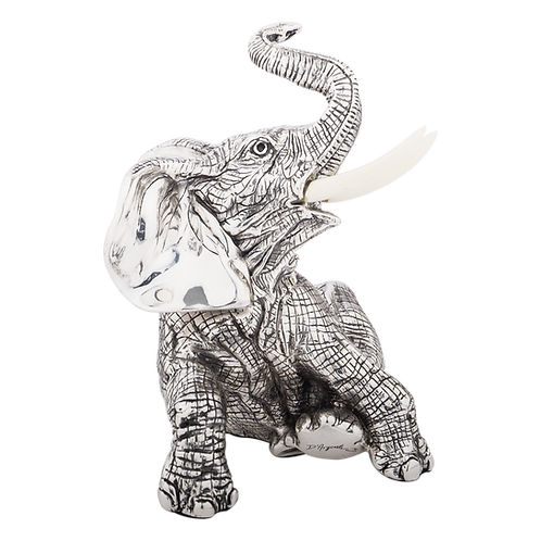 Silver Elephant Figurine Sitting
