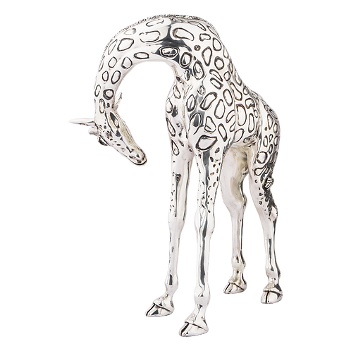 Silver Giraffe Statue Head Down Mother