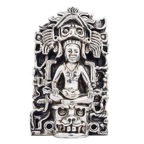 Mayan King with Face Crown Silver Figurine