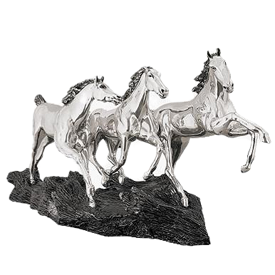 Silver Running Wild Horses Statue