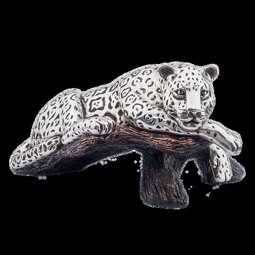 Silver Jaguar Statue on a Branch