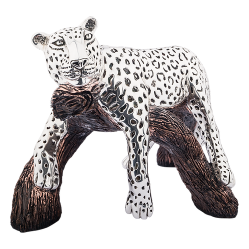 Resting Silver Leopard Statue