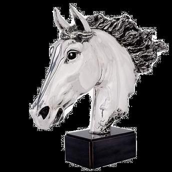 مجسمه سر اسب نقره ای