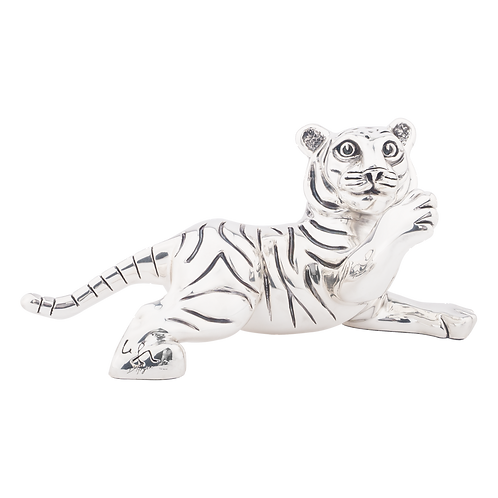 Playful Jumping Tiger Cub Statue