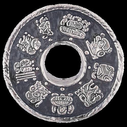 Silver Mayan Hieroglyphics Relief
