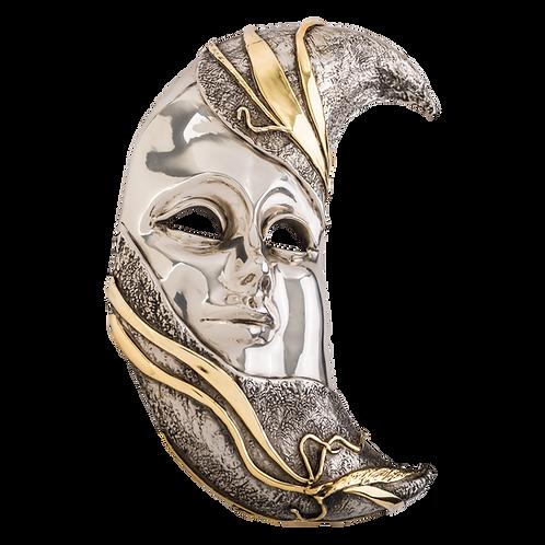 Silver Moon Mask Sculpture