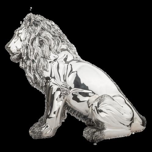 Magnificent Silver Guardian Lion Statue