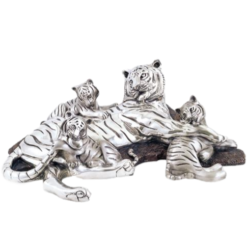 Silver Tigers Family Statue