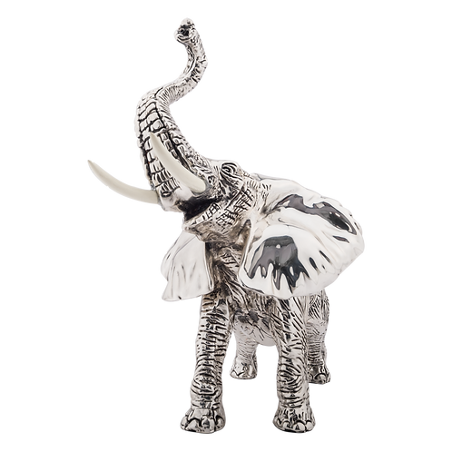 Silver Elephant Figurine Trunk Up