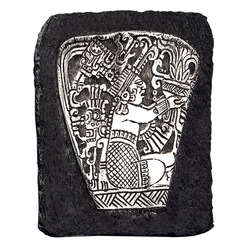 Silver Mayan King Offering Relief